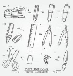 Drawing and writing tools icon thin line for web a vector