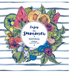 Summer exotic menu fruits card vector