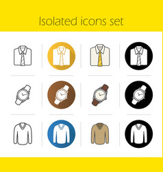 Mens accessories and clothes icons vector