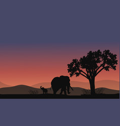 Africa landscape with elephant silhouette vector