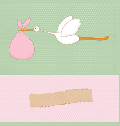 Baby arrival card with stork that brings a cute vector image vector image