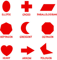 Basic Geometric Shapes with Captions vector image