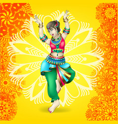Beautiful indian girl dancing vector