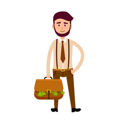 bisnessman with bag full of money vector image vector image