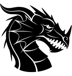 black and white dragon head vector image vector image