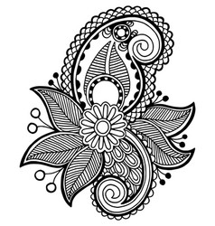 black line art ornate flower design vector image vector image