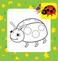 bug coloring page vector image vector image