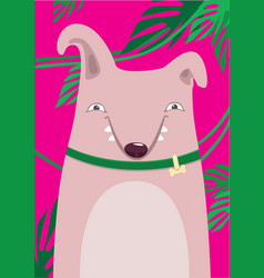 Bull terrier in green leaves on a pink background vector