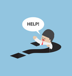 Businessman falling in question mark hole vector