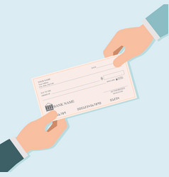 businessman hand giving blank bank checks or vector image vector image