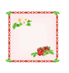 Button strawberries with leaves and flowers vector