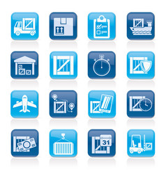 Cargo shipping logistics and delivery icons vector