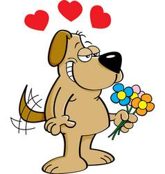 Cartoon dog holding flowers vector