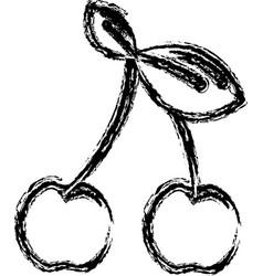 Contour cherry fruit icon stock vector