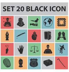 Crime and punishment black icons in set collection vector