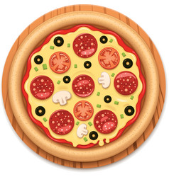 Detailed hot pizza with sticky cheese and vector