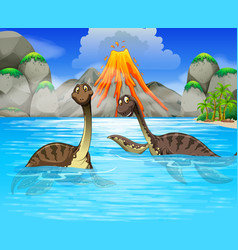 Dinosaurs swimming in the lake vector image vector image