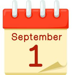 First of september date on calendar vector
