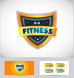 Fitness gym shield logo icon design vector