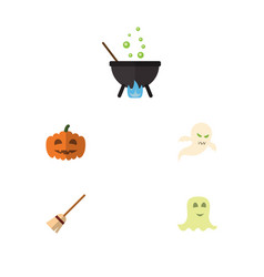 flat icon halloween set of gourd magic spirit vector image vector image