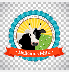 fresh milk logo with cow vector image vector image