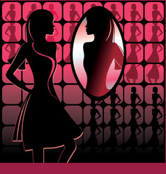 girl in front of mirror vector image