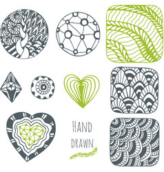 Hand drawn stylized collection Set of vector image vector image