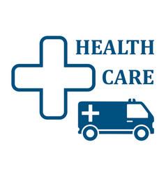 Health care ambulance car icon vector
