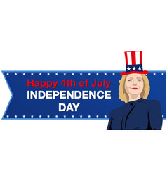 hillary clinton independence day vector image vector image