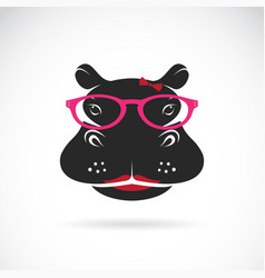 hippo wearing glasses on white background animal vector image
