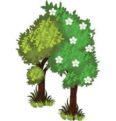 Isometric cartoon bushy green trees web element vector