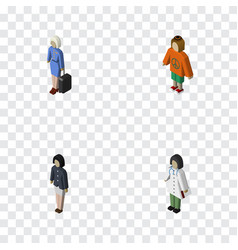 Isometric people set of girl doctor lady and vector