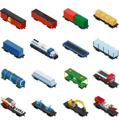 Isometric set of railway trains vector