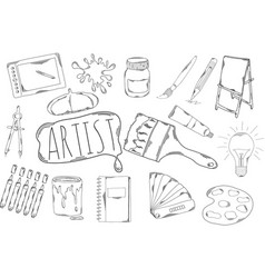 Large collection of line icons in hand drawn style vector
