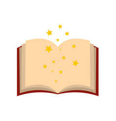 Magic book of spells open flat vector image