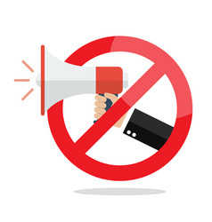 no megaphone or no speaker prohibition sign vector image vector image