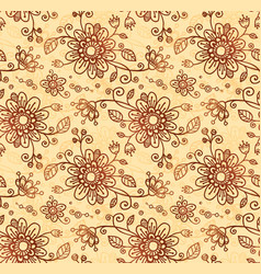 Ornate doodle flowers seamless pattern vector image vector image
