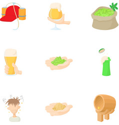 Production of beer icons set cartoon style vector