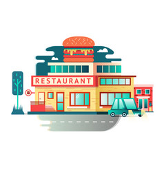 Restaurant building flat design vector