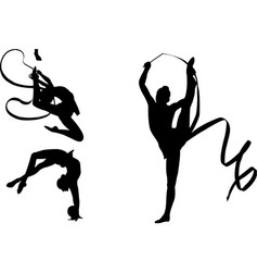 Rhythmic gymnasts silhouettes vector