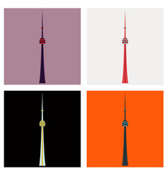 Set of tv cn tower in toronto famous world vector