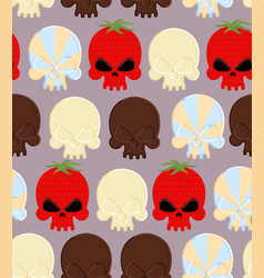 Sweet candy skulls seamless pattern Head skeleton vector image vector image