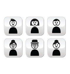 User young and old people buttons set vector