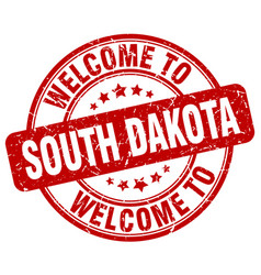 Welcome to south dakota red round vintage stamp vector