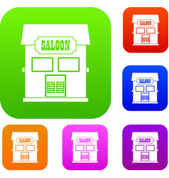 western saloon set color collection vector image vector image