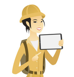 Young asian traveler holding tablet computer vector