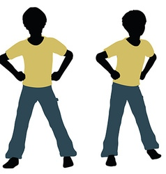 Boy silhouette in angry talk pose vector