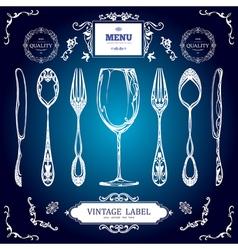 Set of vintage decorations elements vintage spoon vector