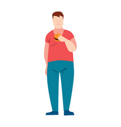 Fat guy eating burger vector