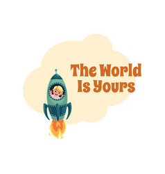 World is yours postcard banner poster little vector